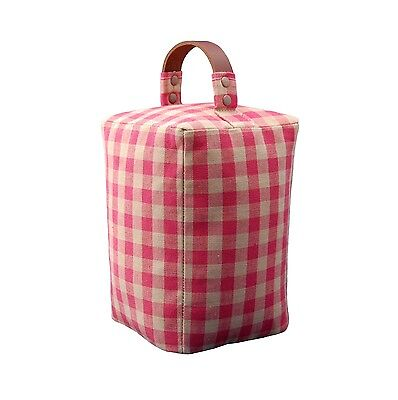 Door stop in Laura Ashley raspberry gingham fabric with leather handle