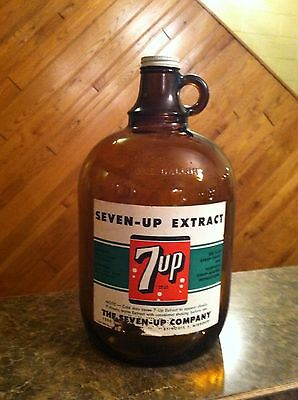 7-Up Soda Fountain Syrup Paper Label Amber Glass 1 Gallon Jug St. Louis, Mo
