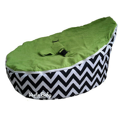 Chevron Green Baby Bean Bag Seat / Snuggle Bed - FILLED and READY TO USE