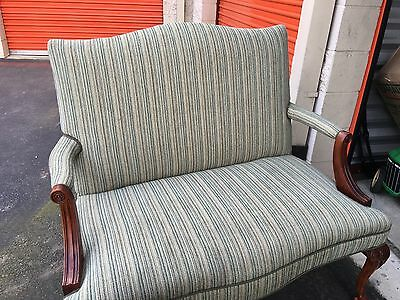 Gorgeous Settee/Small couch with designer cut velvet fabric
