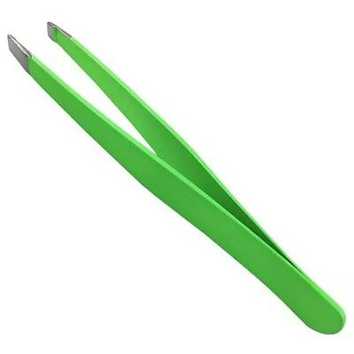 PREMIUM QUALITY Green Stainless Steel Tweezers - Eyebrow Plucker Slanted Tip!