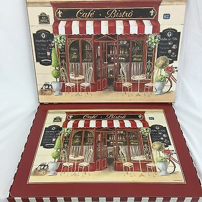 """BOWRING Set of 4 Cafe Bistro Cork Backed Placemats Table Mats 15.5"""" x 11.5"""""""