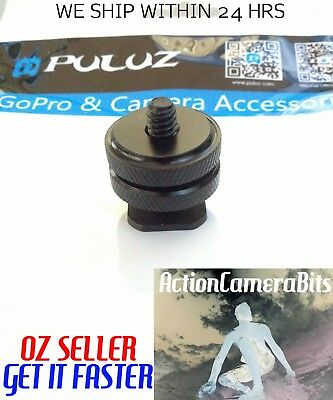 "1/4"" INCH dual thumb Screw Flash Cold Hot Shoe camera Adapter mount GoPro DSLR"