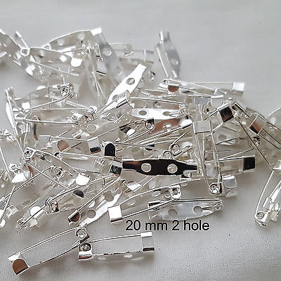 20 x Brooch Backs Bar Pin Back Silver Plated Safety Catch Long 20mmx5mm
