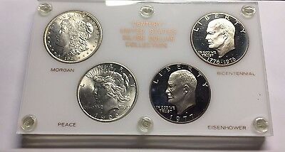 "United States ""Century"" 4 Silver Dollar Collection - Morgan, Peace UNC+"