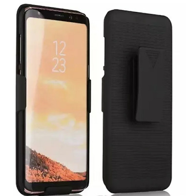 For Samsung Galaxy S8 Black Slim Case Vertical Loading Belt Clip Holster