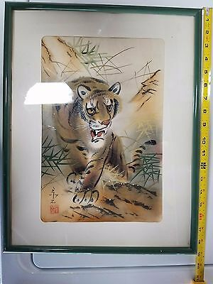Asian Silk Painting Art Old Single Tiger Hunting