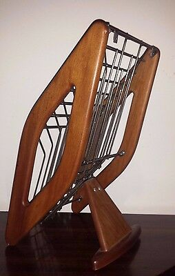 Mid Century Teak Display Stand / Magazine Rack - Industrial