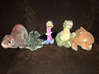 Land Before Time 1988 Plush Toys Set: Little Foot, Cera, Spike, Petrie, & Ducky