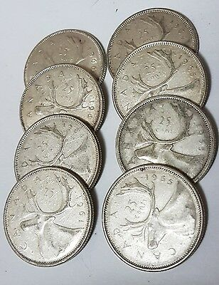 Canadian Silver Quarter Lot - 8 coins - $2 face Value all 80% Silver