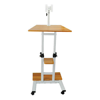 Mobile Adjustable Height Stand Up Desk Computer Workstation Cart+Monitor Mount
