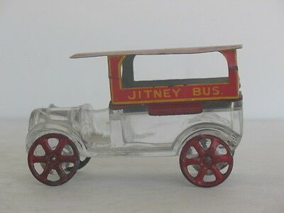 Jitney Bus Red Roof Glass and Tin Candy Container