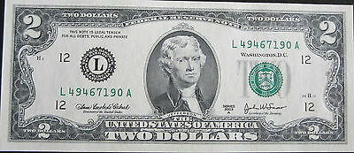 United States Bank Note (Usa) $2 Series 2003 A Federal Reserve Note Gunc # 2