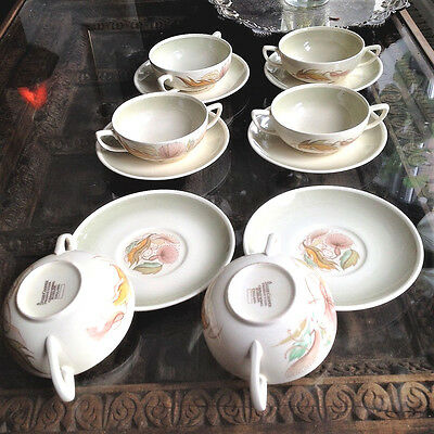 Susie Cooper Pottery 6 x Sea Anenome Soup Bowls with Saucers c1960