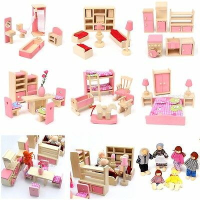 6 Room Miniature Wooden Furniture Set Dolls House Family Kids Children Play Toy