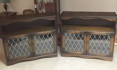 Pair Of Oak  Bookcases Leaded Glass