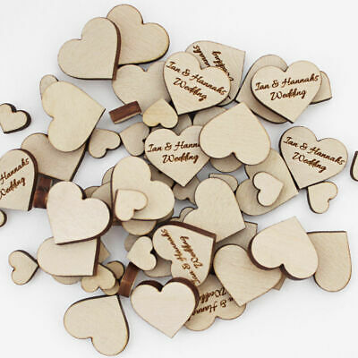 Heart Table Confetti Personalised Wooden Wedding Valentines Decoration Party