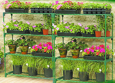 Flower Staging Shed Greenhouse Racking Shelving Storage Shelves Double Pack