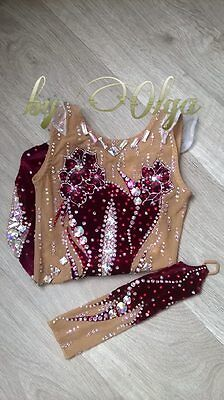 Made To Measure  Rhythmic Gymnastic Leotard Wine Red Velour Without skirt Gloove
