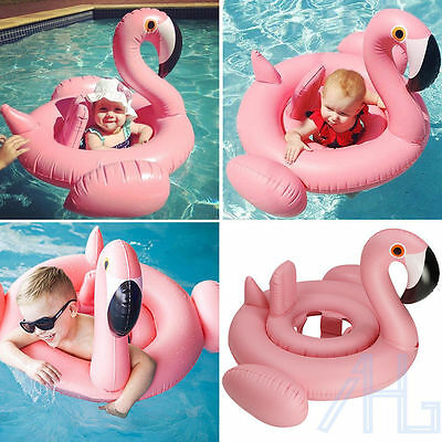 Baby Pink Flamingo Infant Inflatable Swimming Aid Trainer Seat Ring Water Toy UK