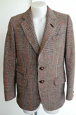harris tweed brown checked wool jacket…to fit a small…vgc...