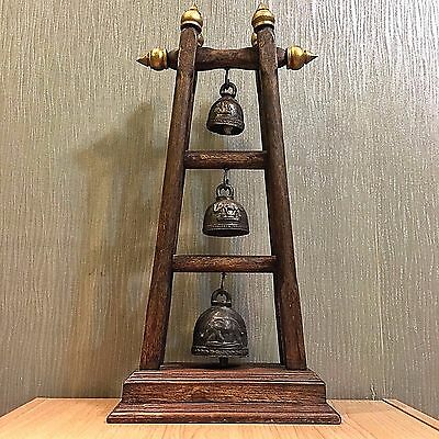 Antique Rare Three-Tiered Bell Buddha Clapper Sound Temple Hanging Old Famous #5
