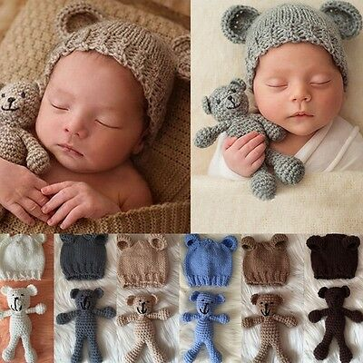 Newborn Baby Girl Boy Crochet Knit Costume Bear +Hat Set Photography Prop Photo