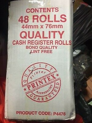 48 Cash Register Paper rolls, 44mm x 76 mm, Bond Quality, Receipt Rolls,