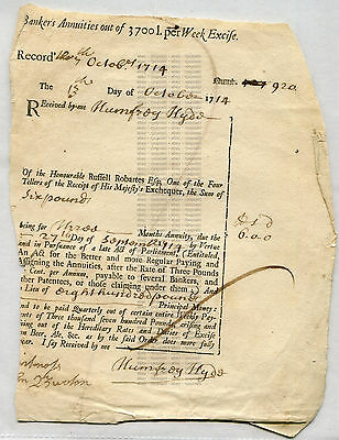 Bankers Annuities October 1714 Of The Honorable Russell Robartes Esq.