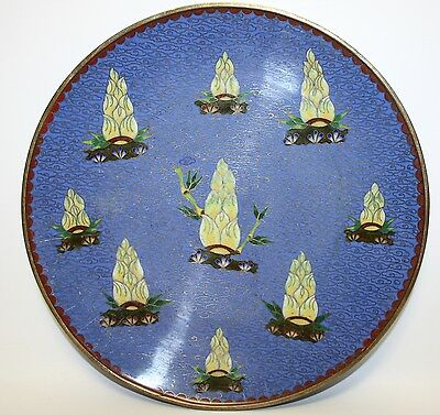 Beautiful Antique Signed Chinese Export Cloisonne Plate W/ Bamboo Shoots - Exc!