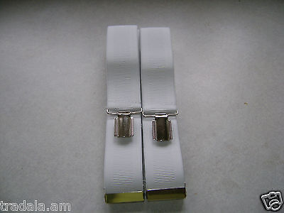 """QUALITY MENS TROUSER BRACES SUSPENDERS 35mm 1.5"""" WIDE CLASSIC WHITE NEW BOXED"""