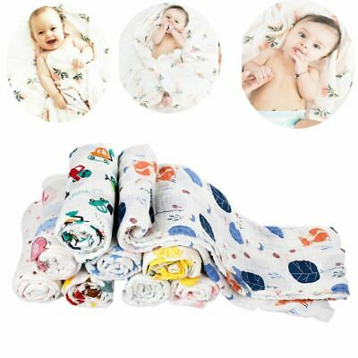 120*120cm Newborn Baby Kid Cotton Sleeping Swaddle Wrap Warm Bed Muslin Blanket