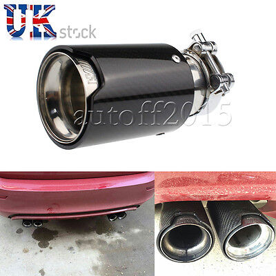 Universal /// M Exhaust Muffler Silencer Pipe Tip For BMW black Carbon Fiber UK