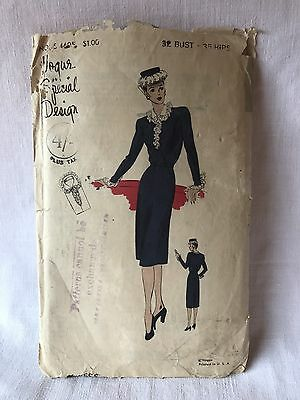 40s Vogue Dress Pattern Rare Unused USA Special No; S-4605 1940s Fashion Pinup