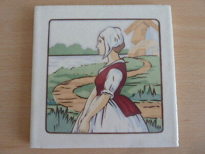 "Poole Pottery 6"" Tile Of A Dutch Girl"