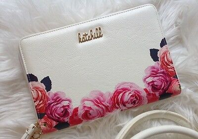 Brand New Kate Hill Floral Rose Print  Ladies Large Wallet Purse