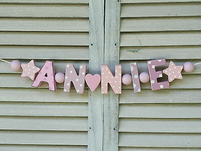 Annie Wooden Name Sign Wall Letters Door Decoration Baby Shower Nursery Shabby