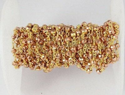 10 Feet Copper Pyrite Rondelle Faceted 24k Gold Plated Rosary Beaded Chain