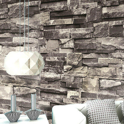 10M 3D Realistic Stacked Brick Stone Vinyl Background Wallpaper 20.8''x393.7''