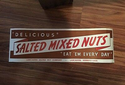 Rare 1940s Lancaster Nut Co Country Store Window Sign NOS Free Shipping
