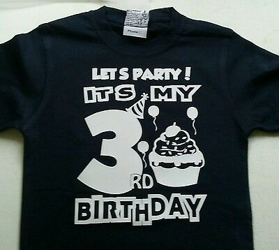 Lets Party It's my (AGE) Birthday Custom Boys 0 - 16 Personalised Party T-Shirt