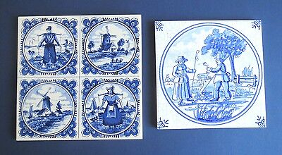 2 Old Delft Blue and White Tiles - Mosa Holland & Westraven Holland