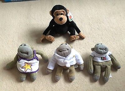 PG Tips Chimp Monkey Soft Toys Bundle- Advert- x4 Different- Promotional