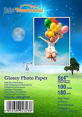 100 Sheets Premium 6 x 4 180gsm High Gloss Photo Paper LW +10 Extra Sheets