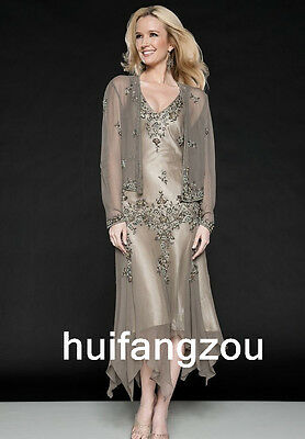 Gray Formal Mother Of the Bride Dresses Gowns Size 4 6 8 10 12 14 16 18 Jacket
