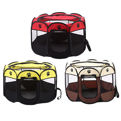 8 Sided Portable Dog Pet Cat Play Pen Closure Outdoor Soft Cage Kennel Tent