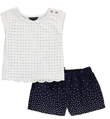 Nautica Baby Girls Scalloped Eyelet 2-piece  Set Outfit 24 months