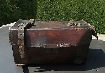 Small Vintage Brown Leather Case With Straps - For Equipment Restoration Display