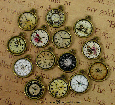 ~Shabby Chic~ small Steampunk Pocket Watch Clock Charm - PICK ONE out 14 designs