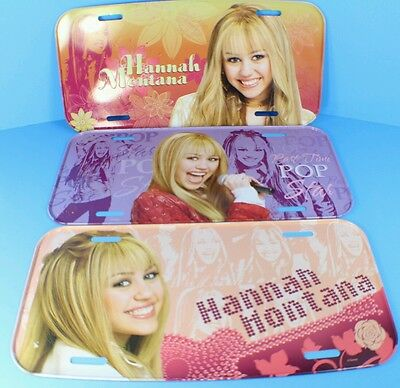 NEW 3 Disney Collectible Hannah Montana Retired Metal License Plates LOT
